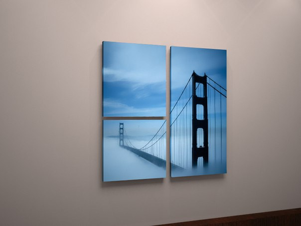 Картина модульная Мост Золотые Ворота, Сан-Франциско, Знаменитый мост Америки 90х65 из 3х частей