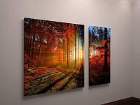 Составная модульная картина на стену Осенний пейзаж 100х60 из 2х частей