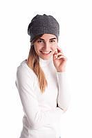 Женская шапка серая ажурная