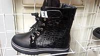 Стильные чёрные демисезонные ботинки на девочку весна/осень YTOP 33-37