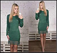Платье женское облегающее, Турция!!! Вязка-резинка. Внизу гипюровая вставка, 3 цвета , фото реал ибич № 38147