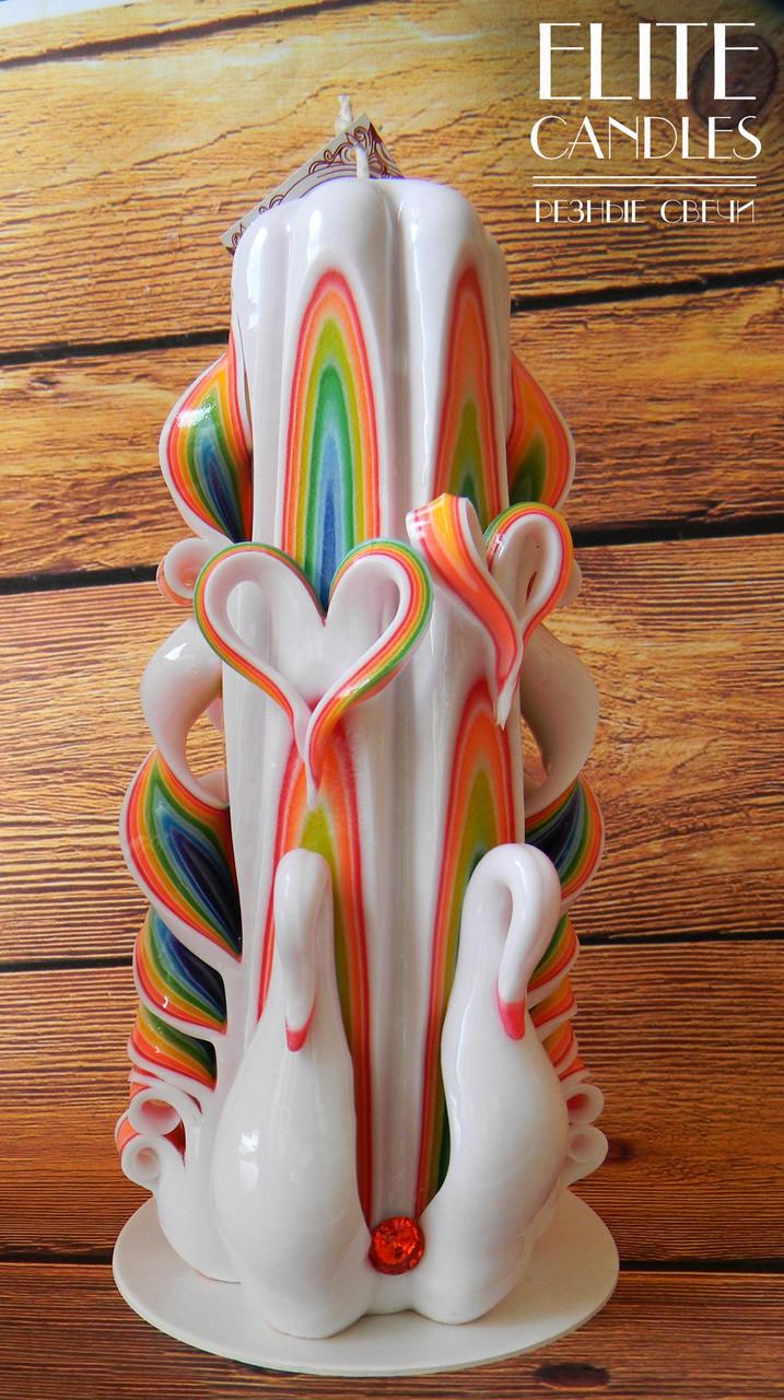 Резная свеча лебеди, радужного цвета, ручной работы 22 см высотой