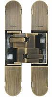 Петля дверная скрытая регулируемая 1131-160х32 3D, 2шт-80кг Бронза