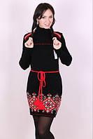 Вязаное платье с орнаментом черного цвета
