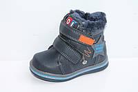 Зимние ботинки детские для мальчиков оптом от Lilin Shoes 1623C Blue (12/6 пар, 21-26)