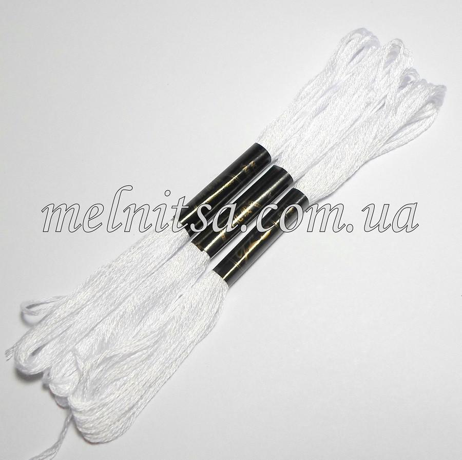 Нитки мулине  Interbird, цвет белый, 1 моток, 8 м