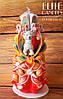 Резная свеча с мишкой, радужного цвета, ручной работы 22 см высотой
