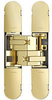 Петля дверная скрытая регулируемая 1129-100х22 3D, 2шт-25кг Латунь