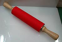 "Скалка ""метал"" силикон+дер.ручки Ф=5,3х43см"