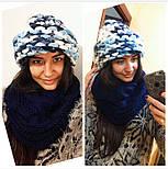 Женская мега модная шапка крупной вязки с подворотом (8 цветов), фото 6