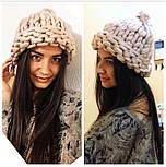 Женская мега модная шапка крупной вязки с подворотом (8 цветов), фото 8