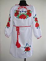 """Вышитое белое платье """" Маки """" для девочки"""