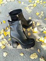 Ботильоны женские на каблуке натуральная кожа