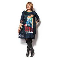 Женское платье-туника большого размера отделано гипюром