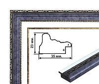 Пластиковый багет, классическая форма, синий. Оформление вышивок, картин, постеров