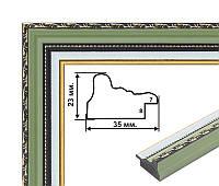 Пластиковый багет, классическая форма, зеленый с белым паспарту. Оформление вышивок, картин, постеров