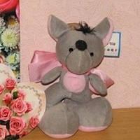 Мышонок с розовым бантом + открытка