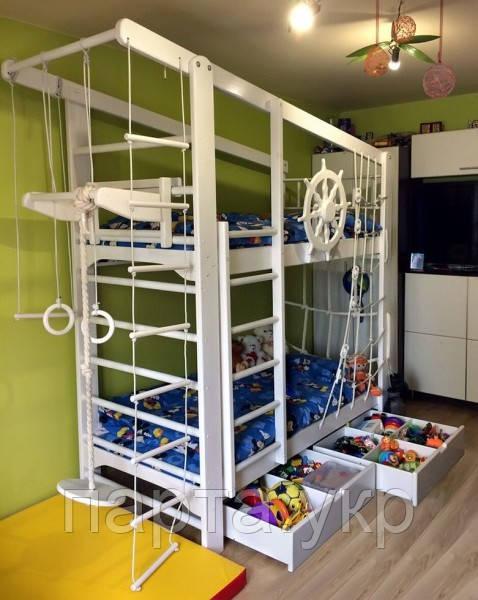 Детская спортивная кровать Спорт Вайт + ящики