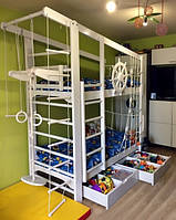 Детская спортивная кровать Спорт Вайт + ящики, фото 1