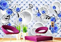 """3D фотообои """"Синие розы с кругами"""""""