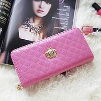 Женский кошелек Корона на молнии лаковый розовый, фото 1
