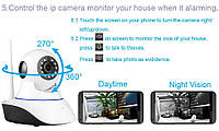 Управляемая поворотная камера 360* WiFi IP с сигнализацией P2P IPС-05, ночная подсветка, датчик движения