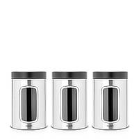 Набір контейнерів Brabantia з вікном (3 предмета за 1,4 л) Matt Steel Fingerprint Proof Brabantia 335341