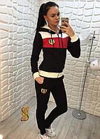 Костюм спортивный женский двойка трехнитка с начесом олимпийка с капюшоном (оптом) Черный, L