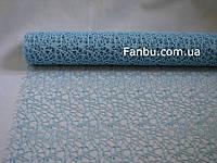 Ажурная сетка голубая на метраж, лист 0,5*0,5 м