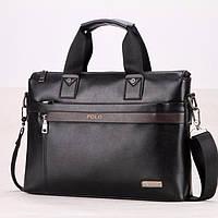 Мужская кожаная сумка -  портфель POLO A4 через плечо