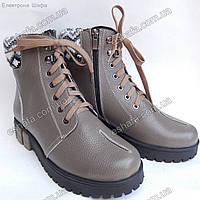 Женские зимние (овчине) ботинки из натуральной кожи на низком ходу