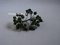 Искусственные засахаренные ягоды для декора темно-зеленые d=1,2см (1 упаковка - 40 ягодок)