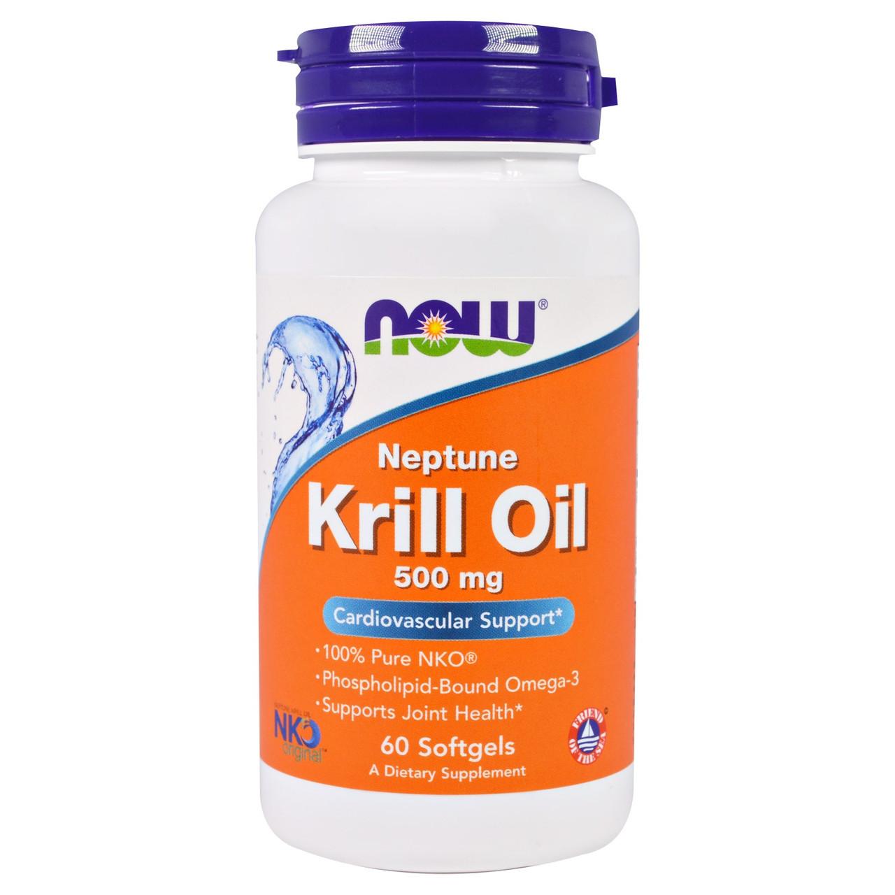 Масло криля Нептун (NKO), Now Foods, 500 мг, 60 капсул