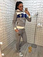 Костюм спортивный женский двойка трехнитка с начесом олимпийка с капюшоном. Большие размеры (оптом) Серый, 52