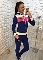 Костюм спортивный женский двойка трехнитка с начесом олимпийка с капюшоном. Большие размеры (оптом) Синий, 50