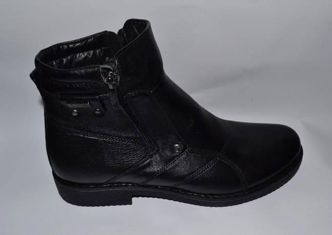 ac80548a Мужские модельные зимние кожаные ботинки, KARAT, черные,высокие, на две  змейки