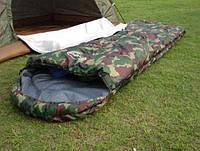 Спальный мешок спальник туристический военный рыбацкий комуфляжный до минус 10 с надувной подушкой