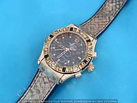 Часы Hublot Big Bang Boa Bang 114370 рептилия женские золотистые на бежевом каучуковом ремешке календарь
