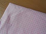 """Лоскут ткани №226 с розовыми точками на розовом фоне """"Шпильки"""", размер 23*130 см, фото 2"""