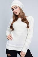Вязаный женский комплект - свитер + шапка