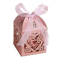 """Бонбоньерка (маленькая коробочка для конфет) """"Ажурное сердце"""" (цвет: персик(розовый)"""