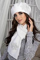 Зимний женский комплект «Лилии» (берет и шарф) Белый