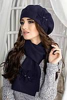 Зимний женский комплект «Лилии» (берет и шарф) Джинсовый