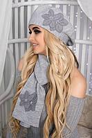Зимний женский комплект «Лилии» (берет и шарф) Светло-серый меланж