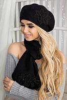 Зимний женский комплект «Лилии» (берет и шарф) Черный