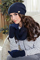 Зимний женский комплект «Франческа» (шапка, шарф-снуд и перчатки) Джинсовый