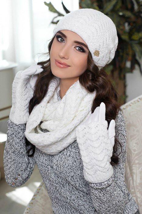 Зимний женский комплект «Франческа» (шапка, шарф-снуд и перчатки) Белый