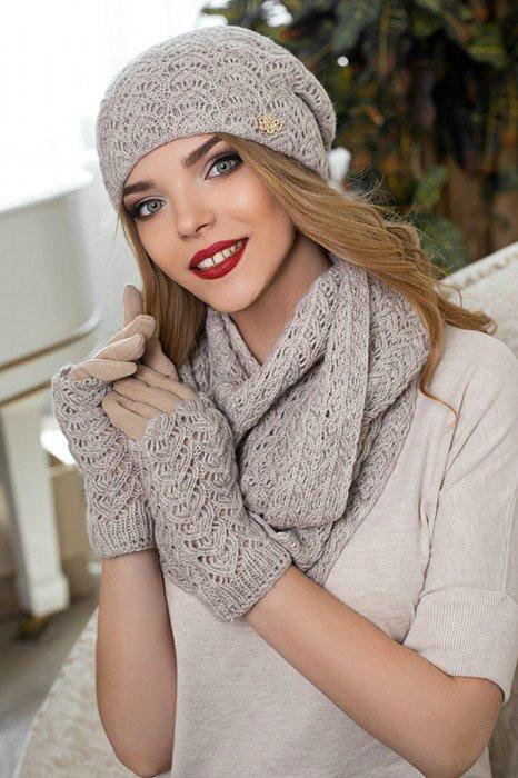 Зимний женский комплект «Франческа» (шапка, шарф-снуд и перчатки) Светлый кофе
