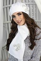 Зимний женский комплект «Камилла» (берет и шарф) Белый