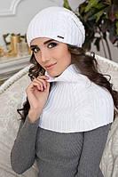 Зимний женский комплект «Герда» (шапка-колпак и шарф-снуд) Белый